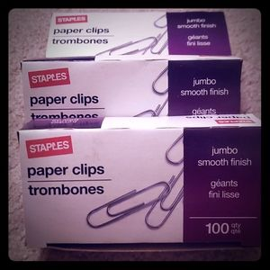 3 Boxes of 100 Ct Jumbo Paper Clips. Negotiable.